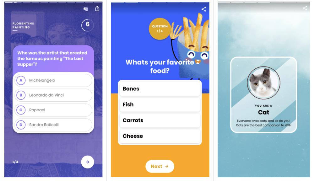 Web ストーリーの投票とクイズ機能