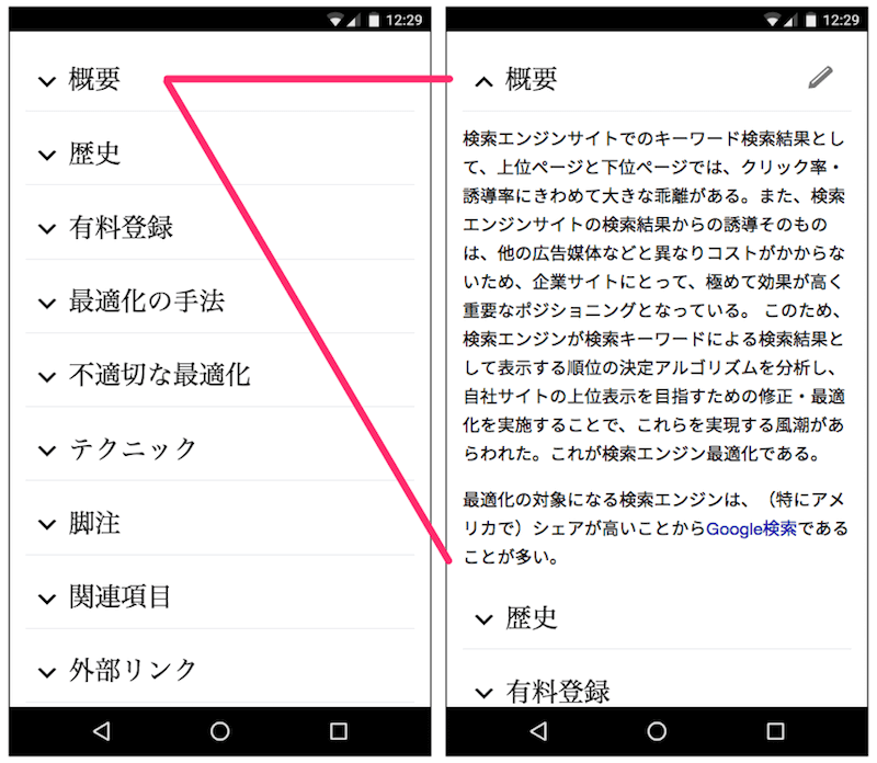 Wikipedia のアコーディオンメニュー