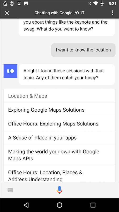 呼び出された Google I/O アプリ