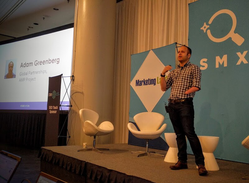 Adam Greenberg speaking at SMX East 2016