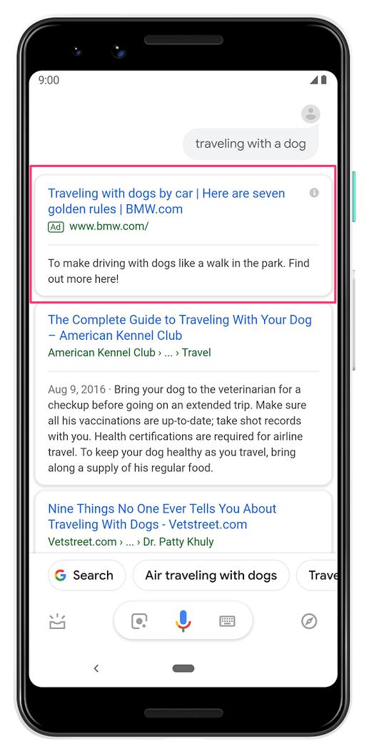 Google アシスタントの結果に掲載される広告