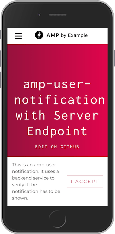 amp-user-notification with Server Endpoint
