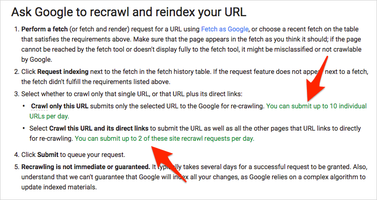 (New) Ask Google to recrawl and reindex your URL