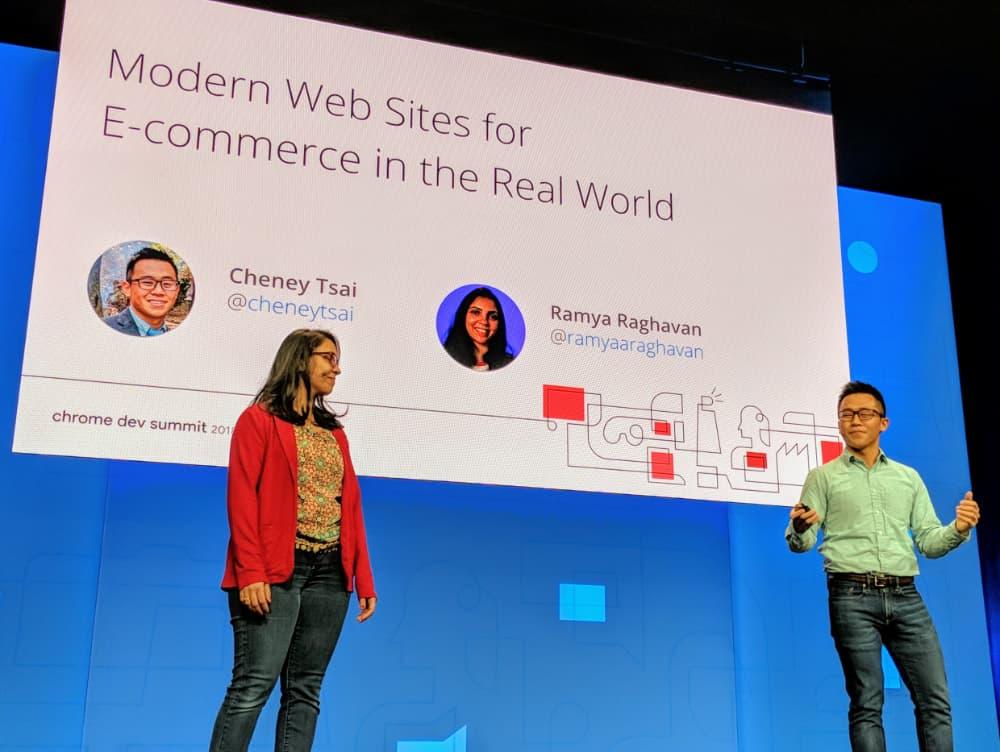 Cheney Tai and Ramya Raghavan talking at Chrome Dev Summit 2018