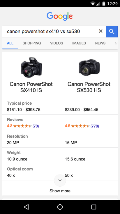 canon powershot comparison