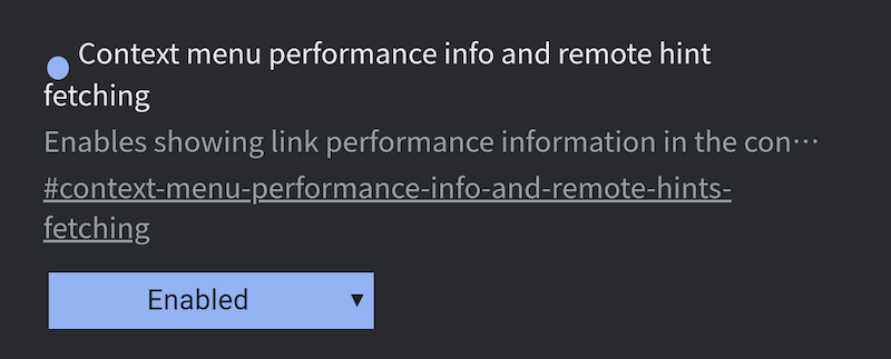 Context menu performance info and remote hint fetching
