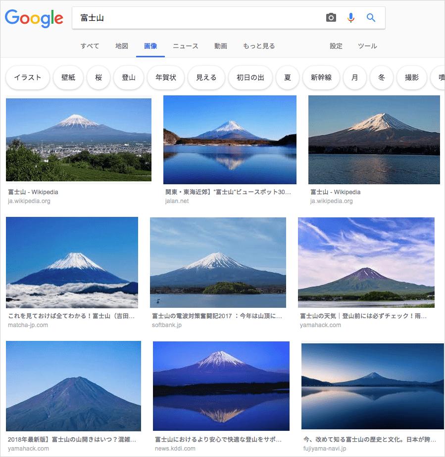 サムネイル画像にキャプションが付く画像検索結果