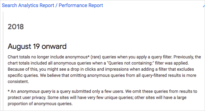 Chart totals no longer include anonymous* (rare) queries when you apply a query filter.