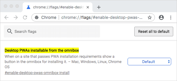 Desktop PWAs installable from the omnibox