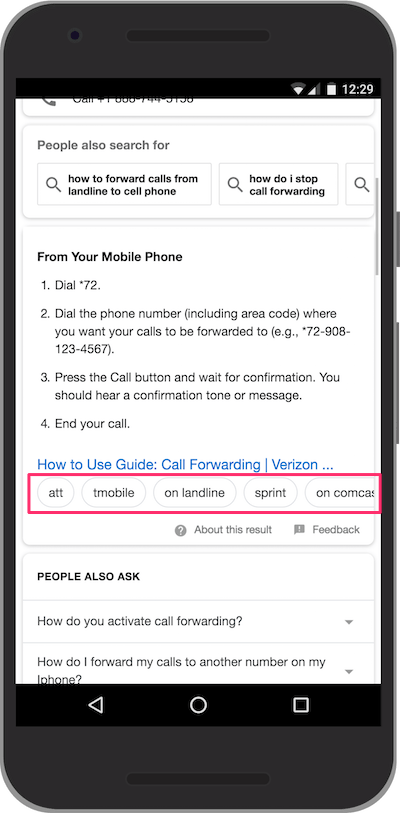 Featured Snippets for how to setup call forwarding