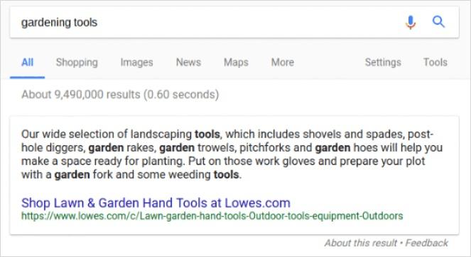 米 Google での EC サイトからの強調スニペット
