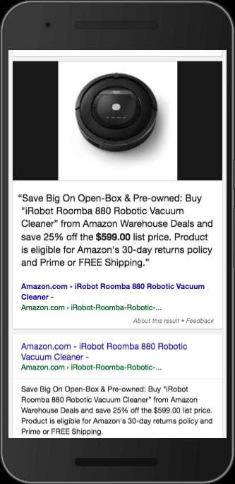 米 Google での Amazon からの強調スニペット