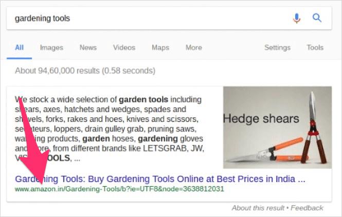 Google インドでの Amazon からの強調スニペット