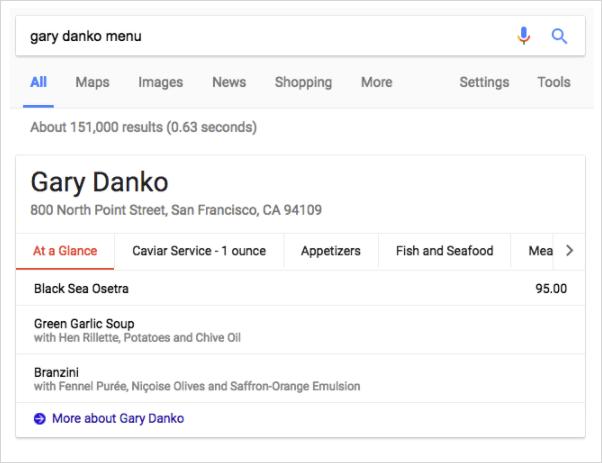 「gary danko menu」の強調スニペット