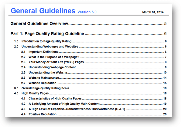 General Guidelines Version 5.0の目次