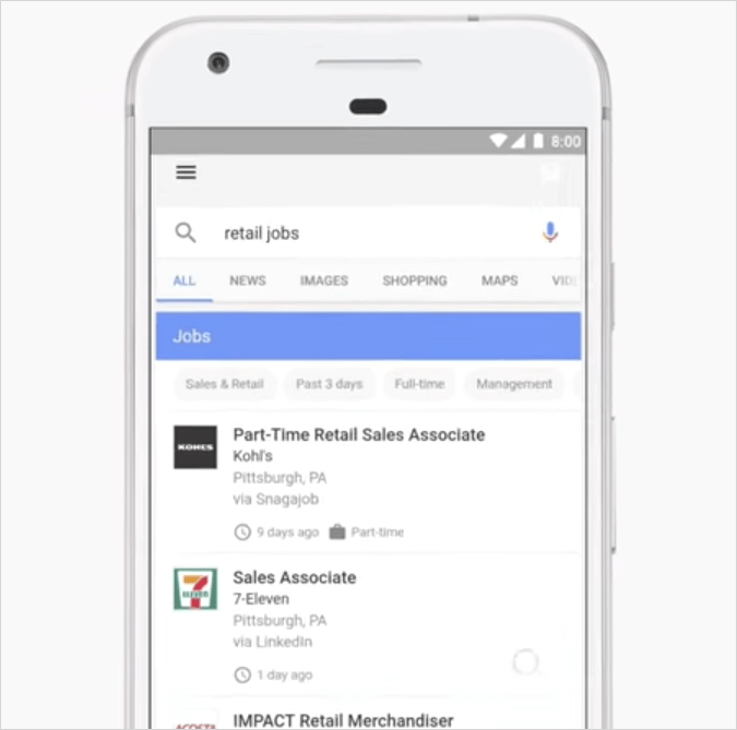Google for Jobsの検索結果