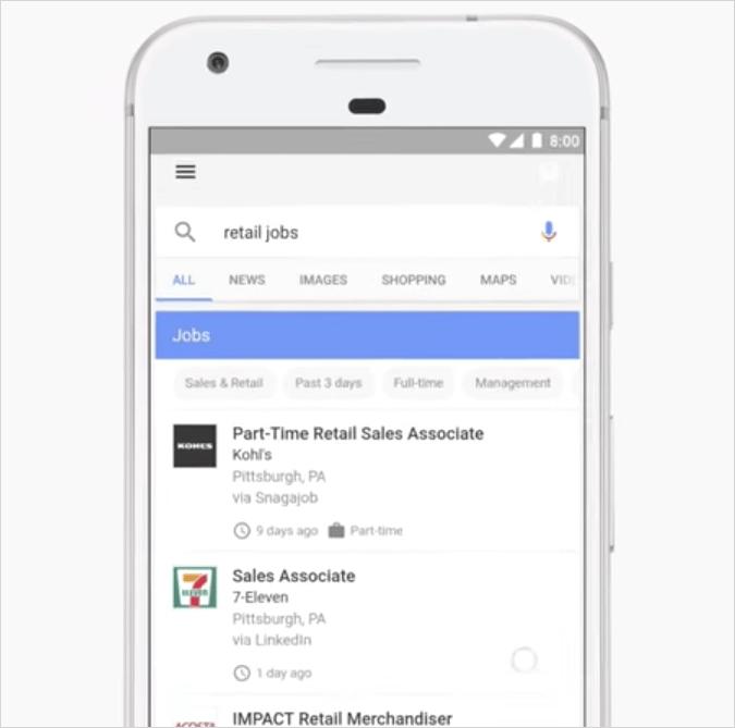 Google for Jobsの検索結果
