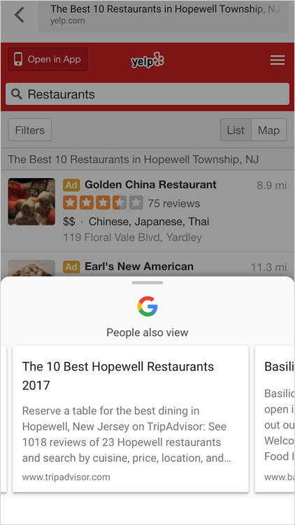 Yelp の People also view に Trip Advisor が出現