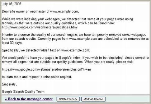 Goolgeウェブマスターツール メッセージセンターの警告文サンプル