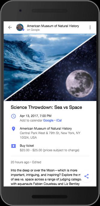 自然史博物館のGoogle Posts