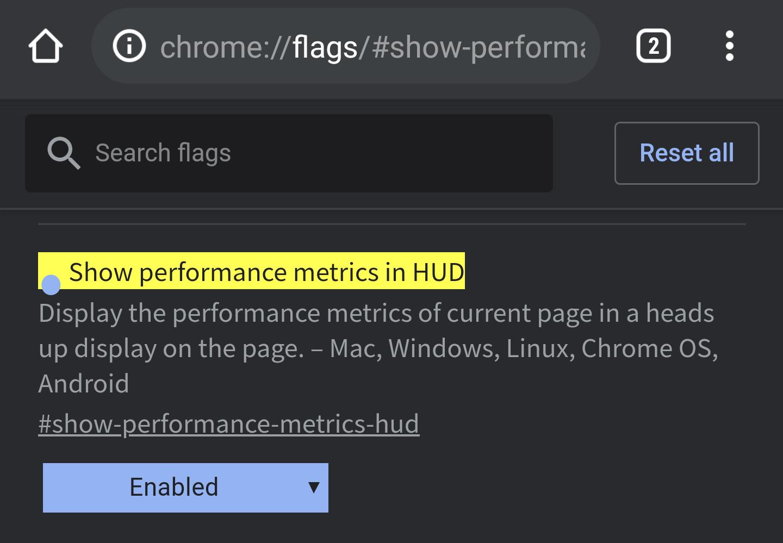Show performance metrics in HUD