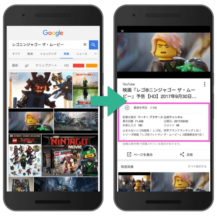 動画の画像検索 リッチ結果