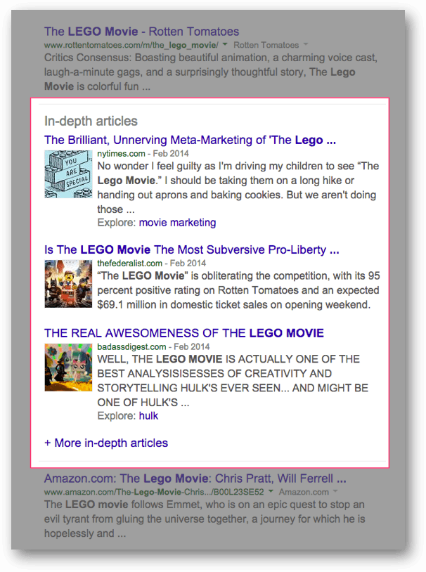 LEGO Movie に出てきた In-depth articles