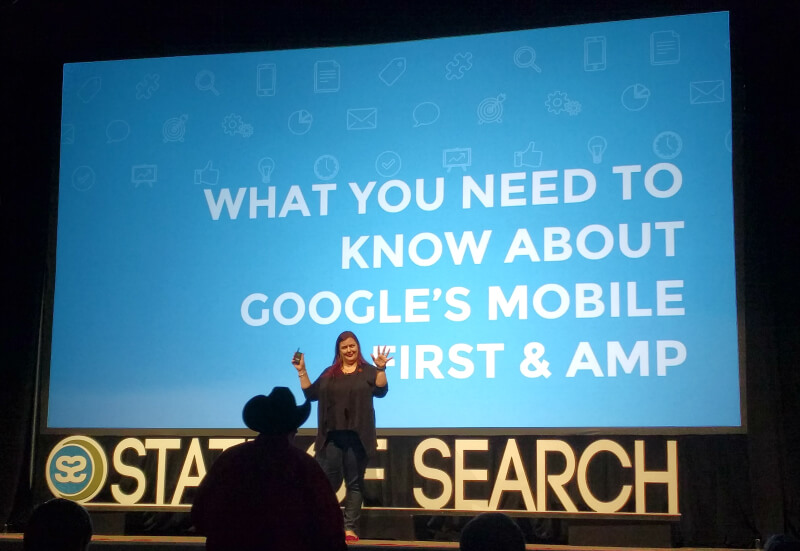 Jennifer Slegg speaking at State of Search 2016