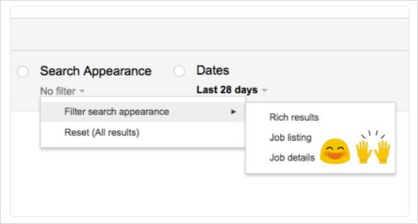 検索アナリティクスの「検索の見え方」のジョブリスティング