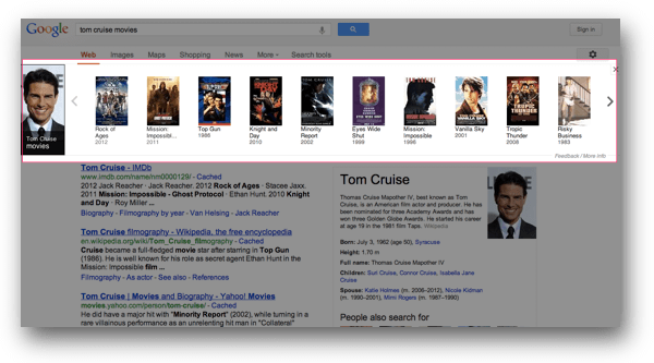 トム・クルーズのKnowledge Graph Carousel