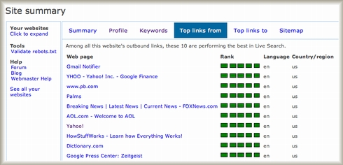 Live Search Webmaster Portal Top links from