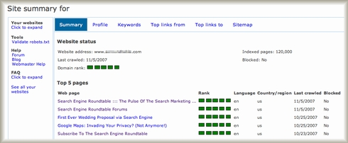 Live Search Webmaster Portal Site Summary
