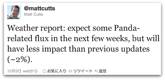 Matt Cuttsのパンダ・アップデート更新Weather Report