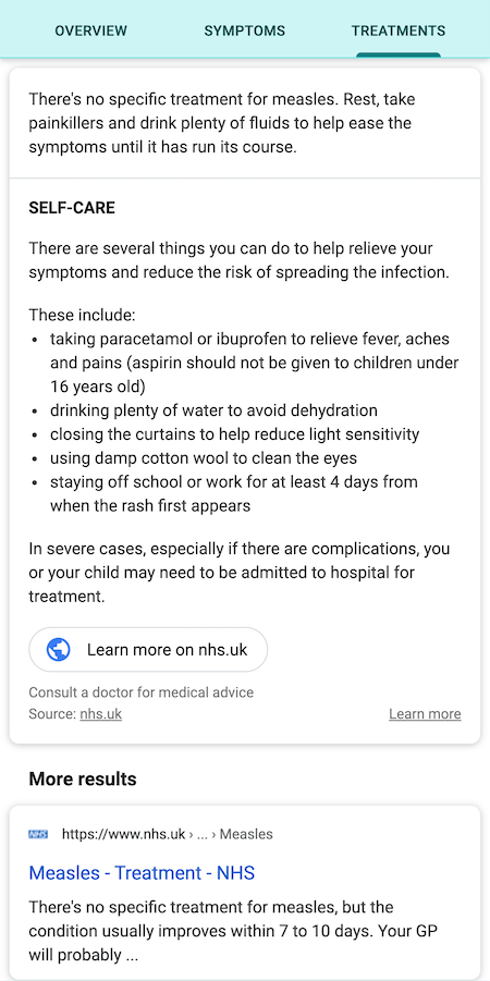 measles のナレッジパネル
