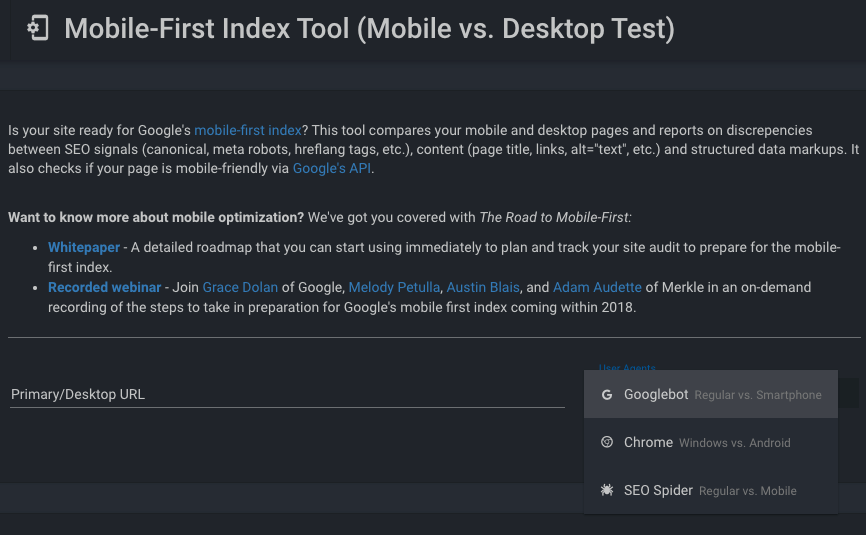 Mobile-First Index Tool by Mekle