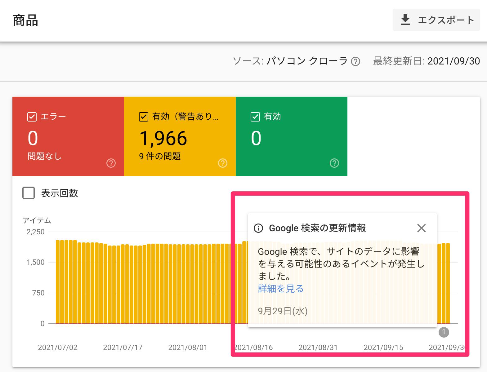 Google 検索で、サイトのデータに影響を与える可能性のあるイベントが発生しました