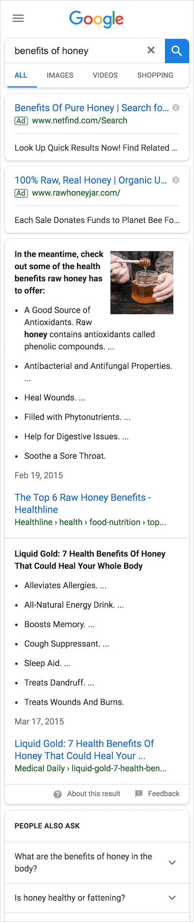 「benfits of honey」のマルチファセット強調スニペット