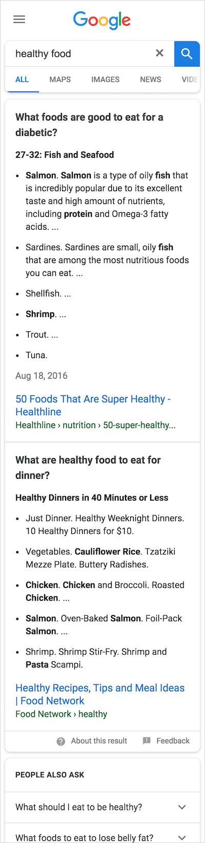 「healthy food」のマルチファセット強調スニペット