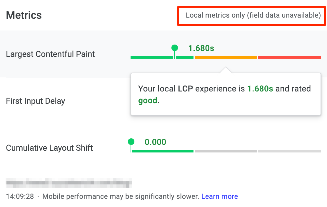 Local metrics only (field data unavailable)