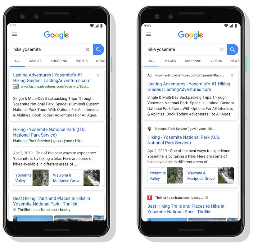 新しいデザインのモバイル検索結果