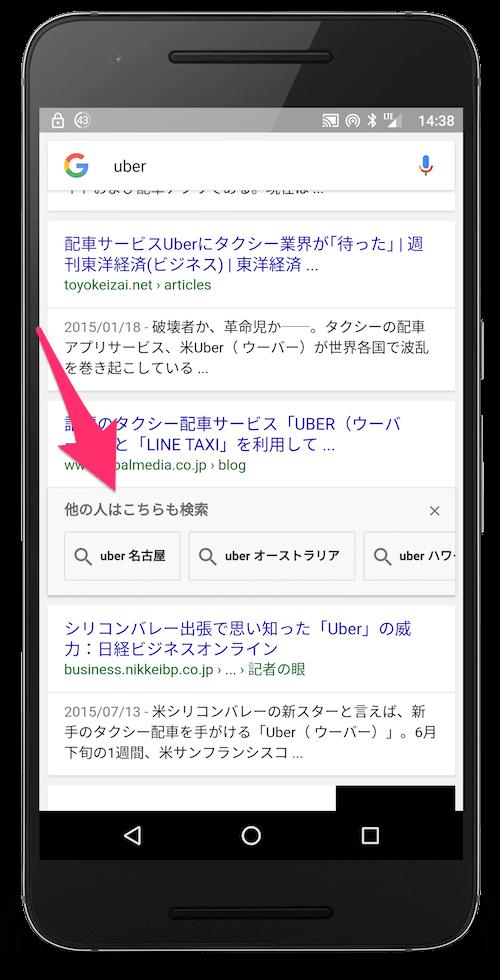 アクセスした結果の下に表示される「他の人はこちらも検索」