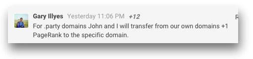 For .party domains John and I will transfer from our own domains +1 PageRank to the specific domain.