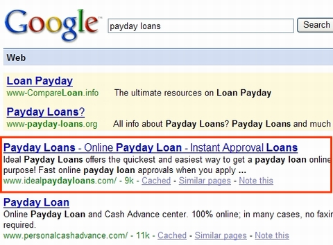 Payday Loans Google Ranking