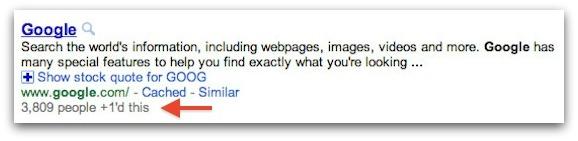 Googleの+1カウント表示