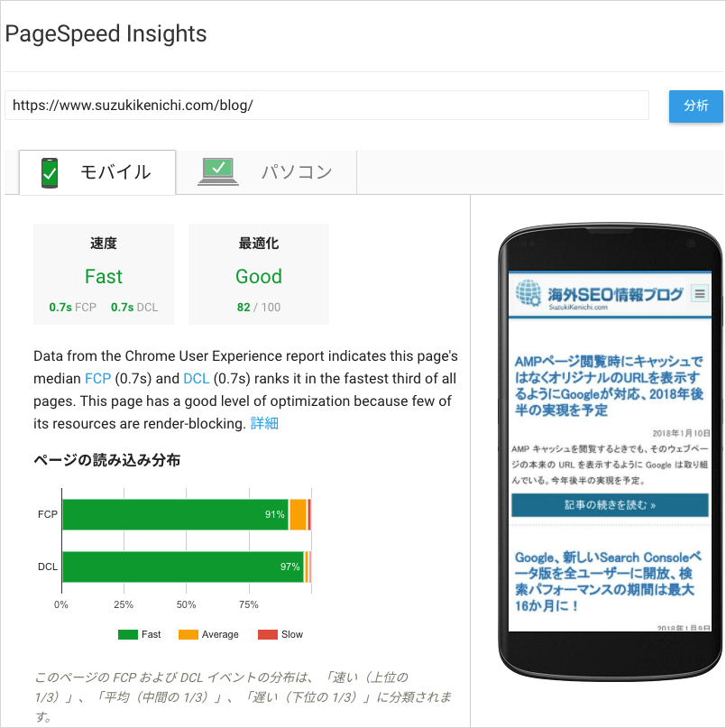 PageSpeed Insights で計測した FCP と DCL
