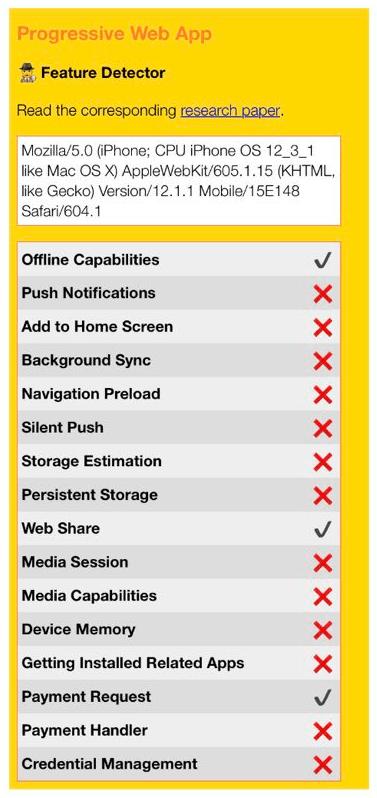 iOS 版 Safari の PWA サポート状況