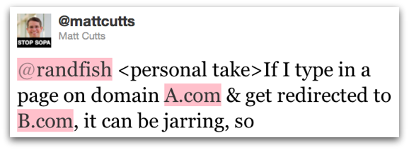 personal take: If I type in a page on domain A.com & get redirected to B.com, it can be jarring, so