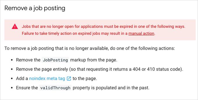 Remove a job posting