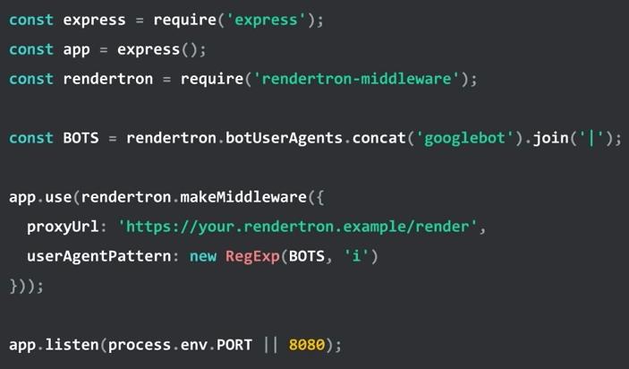 Rendetron 用ダイナミックレンダリングのコード