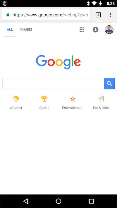 Google.comモバイル検索ホームページのショートカット